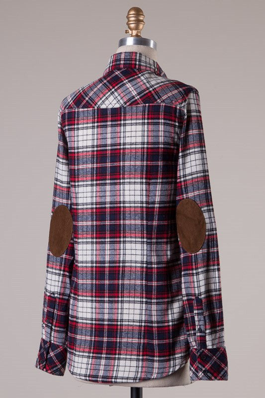 Elbow Patch Plaid Flannel - White/Navy/Red, , Tops, New, Bayberry Co. - 1