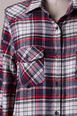 Elbow Patch Plaid Flannel - White/Navy/Red, , Tops, New, Bayberry Co. - 3