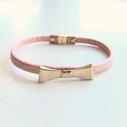 Bow Leatherette Bracelet - Pink, , sale, jewelry, Bayberry Co. - 1