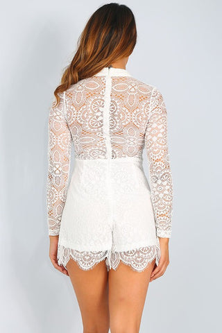 Sadi Lace Romper - White, , Rompers, New, Bottoms, Bayberry Co. - 4