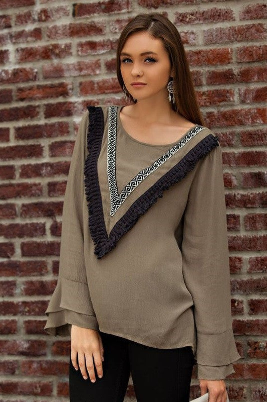 Olivia Fringe Top, , Tops, New, Bayberry Co. - 1