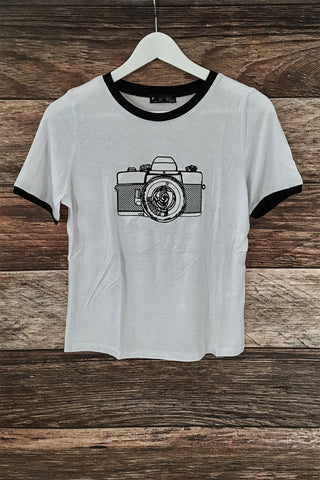 Camera Embroidered Tee, , Tops, New, Bayberry Co. - 1