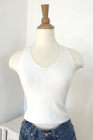 Ribbed Knit Crop Top - White, , Tops, New, Bayberry Co. - 1