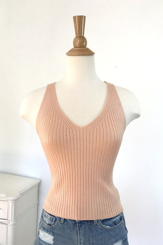 Ribbed Knit Crop Top - Peach, , Tops, New, Bayberry Co. - 1