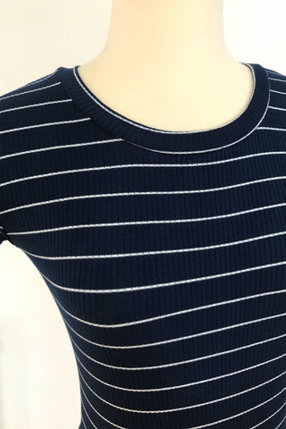 Striped Ribbed Bodysuit - Navy, , Rompers, New, Bottoms, Tops, Bayberry Co. - 3