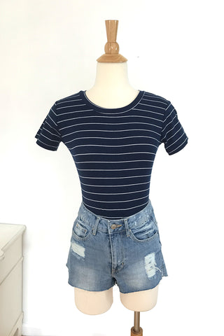 Striped Ribbed Bodysuit - Navy, , Rompers, New, Bottoms, Tops, Bayberry Co. - 4
