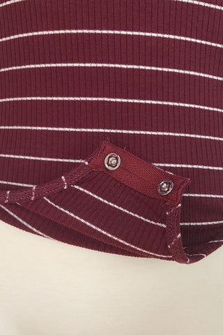 Striped Ribbed Bodysuit - Burgundy Red, , Rompers, New, Bottoms, Tops, Bayberry Co. - 2