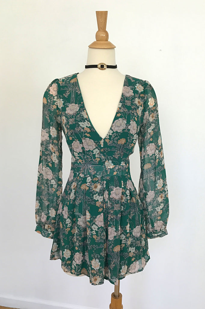 Green Floral Romper, , Romper, Bottoms, New, Bayberry Co. - 1