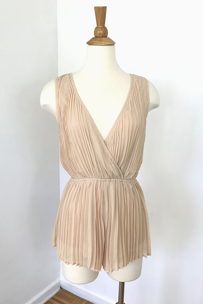 Pleated Nude Romper, , Rompers, New, Bottoms, Tops, Bayberry Co.