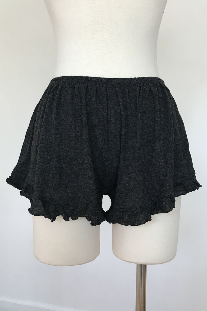 Basic Ruffle Shorts - Charcoal, , New, Bottoms, Bayberry Co. - 1