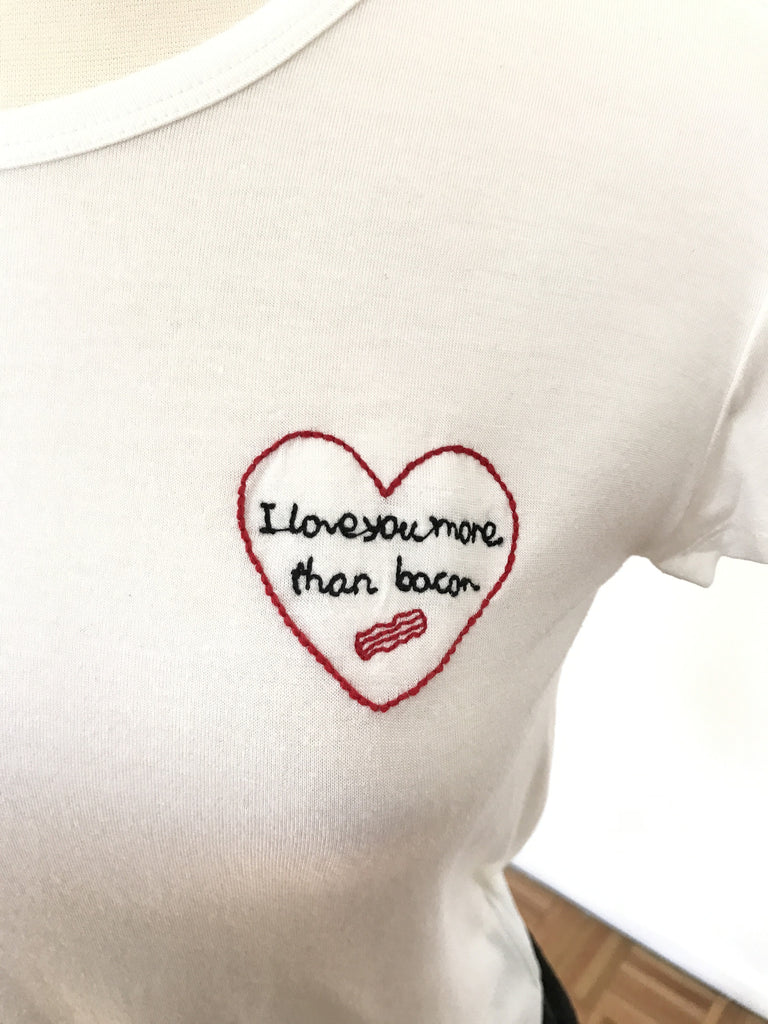 Love You More Than Bacon Top - White, , Tops, New, Bayberry Co. - 1