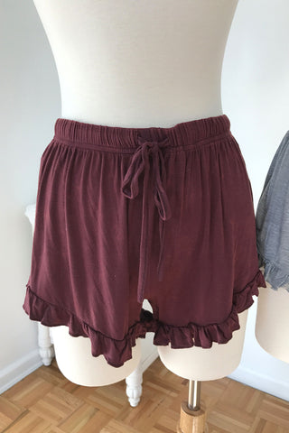 Ruffle Trim Shorts - Burgundy