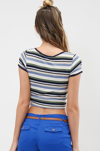 Reina Striped Crop Top, , Tops, New, Bayberry Co. - 3