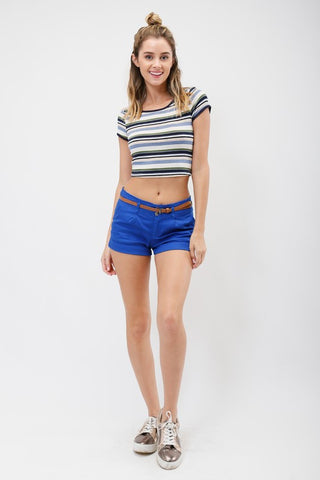 Reina Striped Crop Top, , Tops, New, Bayberry Co. - 4