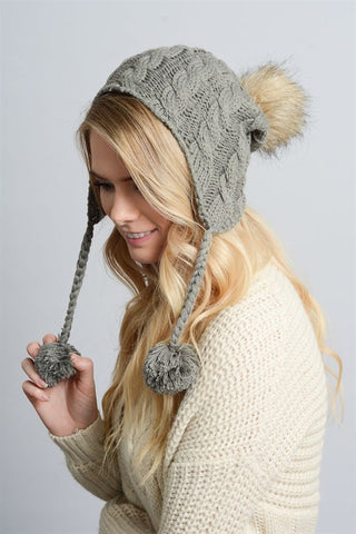 Cable Knit Earflap Beanie - Gray, , Winter, Hats, new, Bayberry Co. - 1