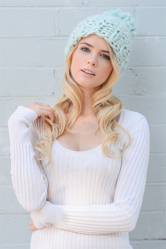 Chunky Knit Beanie - Mint, , Winter, Hats, new, Bayberry Co.