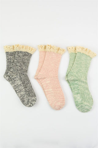 Crochet Ruffle Socks - Assorted Colors, , Winter, Socks, Hosiery, new, Bayberry Co. - 4