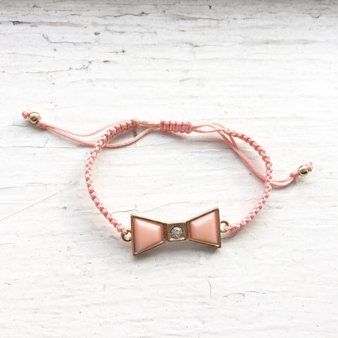Bow Cord Bracelet - Pink, , sale, jewelry, Bayberry Co. - 1