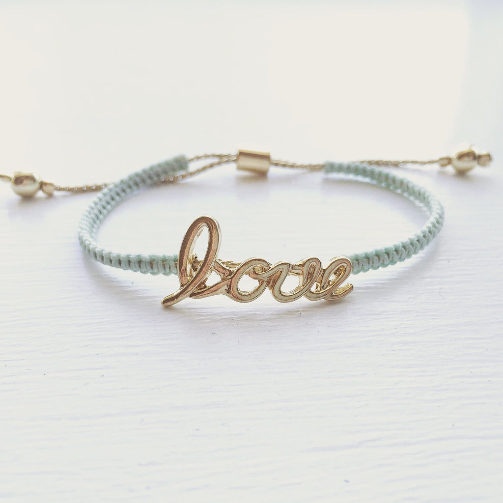 Love Cord Bracelet - Mint, , sale, jewelry, Bayberry Co. - 1