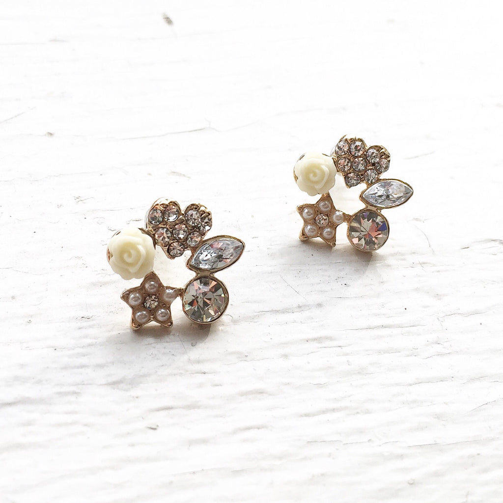 Gold Emblem Earrings, , sale, jewelry, Bayberry Co.