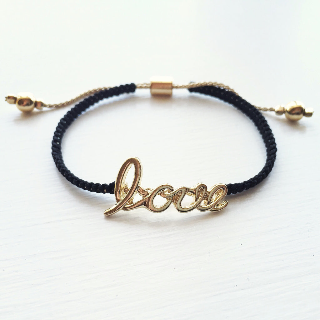 Love Cord Bracelet - Black, , sale, jewelry, Bayberry Co. - 1