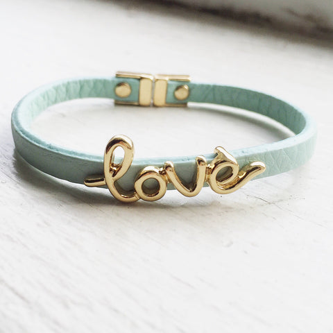 Love Leatherette Bracelet - Blue, , sale, jewelry, Bayberry Co. - 1