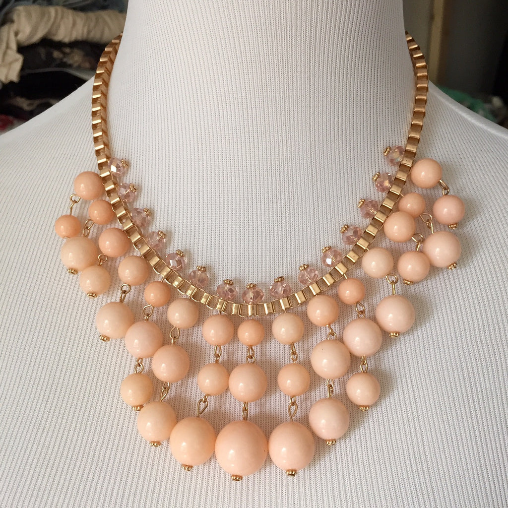 Calyx Necklace Set - Peach, , sale, jewelry, Bayberry Co. - 1