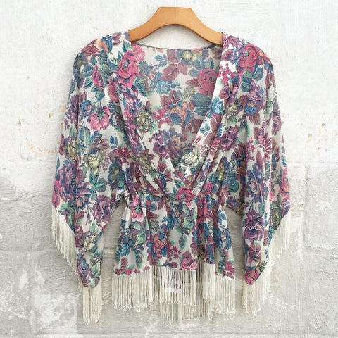 Iysa Floral Fringe Top, , sale, Bayberry Co. - 1