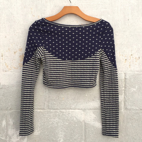 Stars and Stripes Crop Top - Blue, , sale, Bayberry Co. - 2