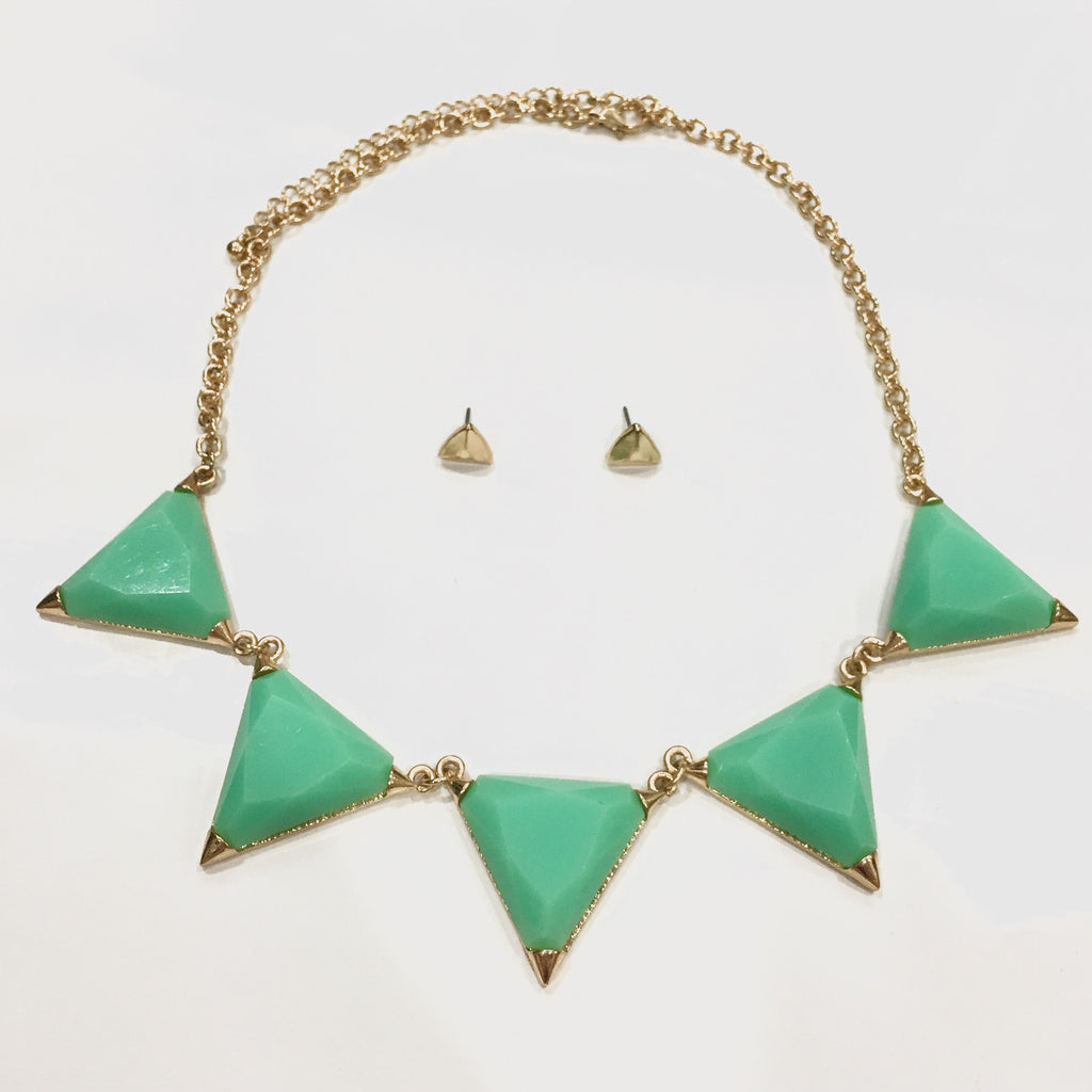 Hailee Triangle Necklace - Mint, , sale, jewelry, Bayberry Co. - 1