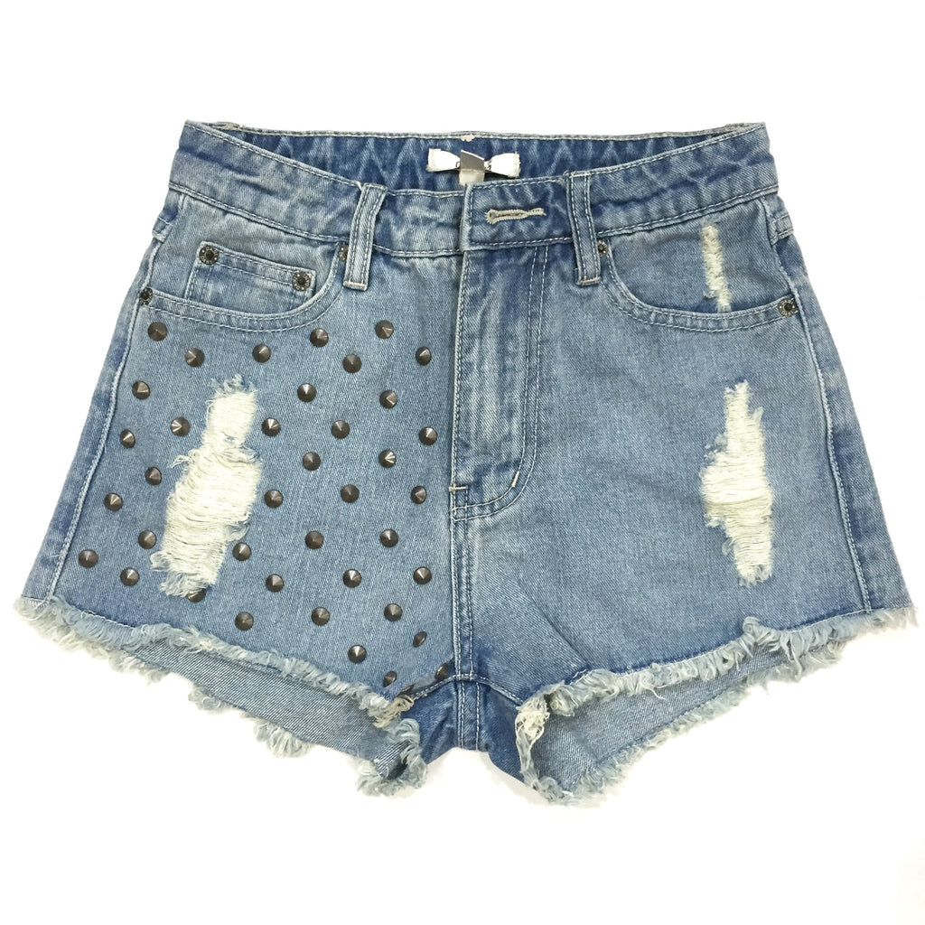 Kenzie High Waisted Studded Shorts - Light Wash, , Sale, Bayberry Co. - 1