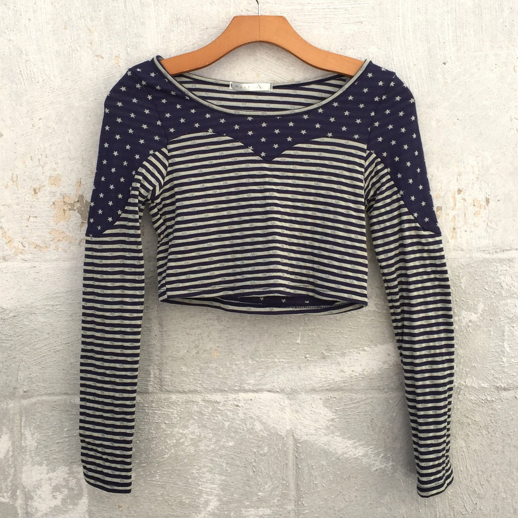 Stars and Stripes Crop Top - Blue, , sale, Bayberry Co. - 1