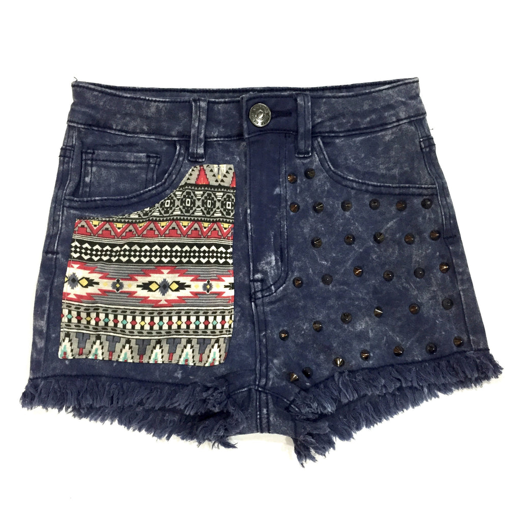 Maisha High Waisted Tribal Studded Shorts, , sale, Bayberry Co. - 1