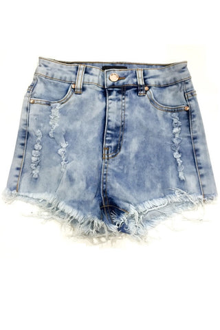Jeannine High Waisted Shorts - Light Acid Wash, , Bottoms, Bayberry Co. - 1