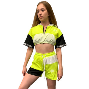 Neon Green Windbreaker shorts