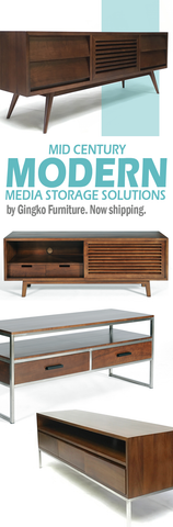 Mid Century Modern TV Cabinets inSolid Walnut from Gingko Furniture
