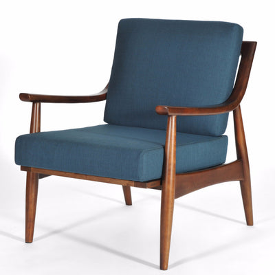 Mid Century Modern Adam Chair Medium Walnut, Azure Upholstery, Hand Crafted by Gingko