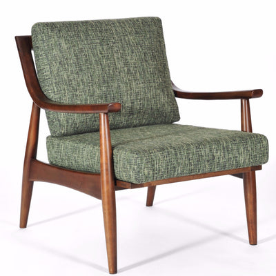 Mid Century Modern Adam Chair Medium Walnut, Jade Upholstery, Hand Crafted by Gingko