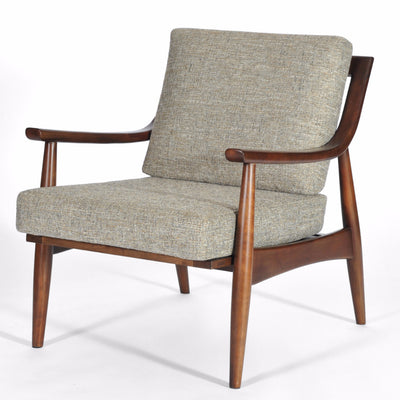 Mid Century Modern Adam Chair Medium Walnut, Mineral Upholstery, Hand Crafted by Gingko