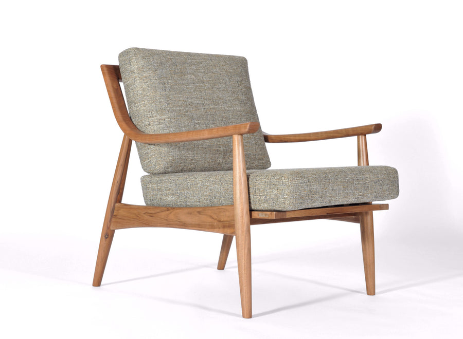 Mid Century Modern Adam Chair Natural Walnut, Mineral Upholstery, Hand  Crafted By Gingko