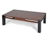 Hand Crafted Walnut Coffee Table; Contrasting Black Leg, Contemporary Design