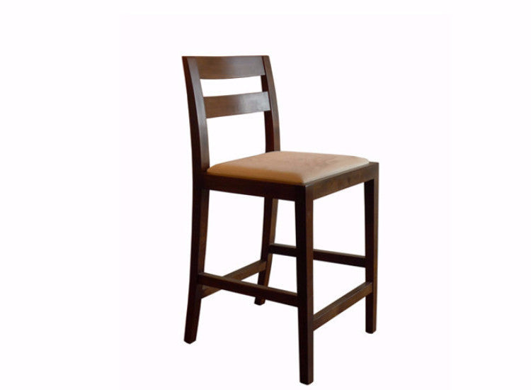 Walnut Counter Stool, Upholstered Seat, Transitional Modern Styling
