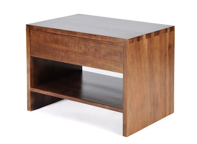 Contemporary Side Table, Hand-crafted in solid Walnut, Features exposed dovetail joint details, Visit Gingko's Bay Area Showrooms