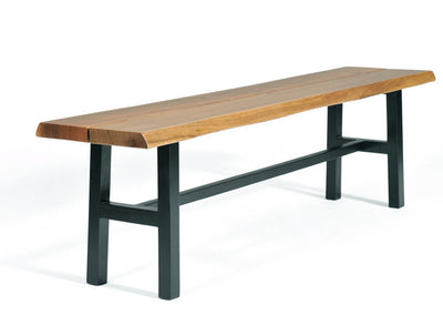 "Solid Walnut Bench, Handcrafted, Live Edge Detail; Rich natural walnut slab 1.5"" thick on black legs; available at www.gingkofurniture.com"