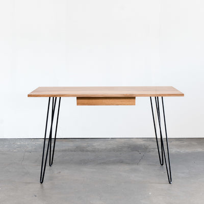 Metro Desk, Natural Walnut with Hairpin Legs