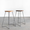 Nelson Counter Stools, Natural and Medium Walnut, Steel Legs