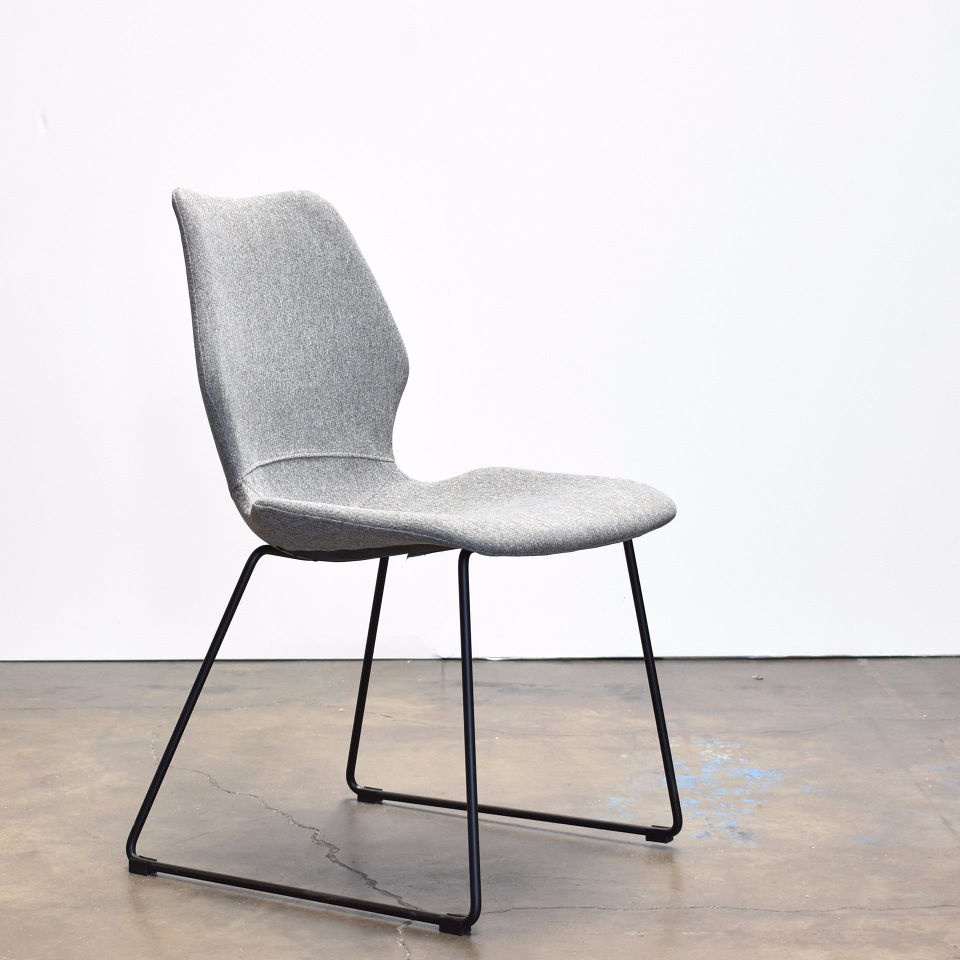 Nina Modern Dining Chair, Light Grey Upholstery, Black Base