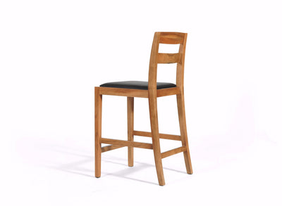 Walnut Bar Stool, Upholstered Seat, Transitional Modern Styling