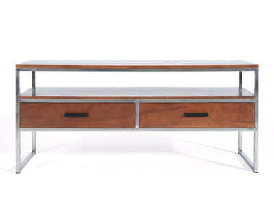 Modern TV Cabinet, Walnut and Stainless Steel, Small format, contemporary