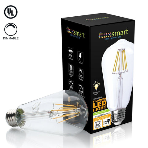 Dimmable ST64 Edison Style Vintage LED Filament Light Bulb - 8 Watt, 800 Lumen - 2700K Warm White, E26 Base, 60W Incandescent Bulb Equivalent